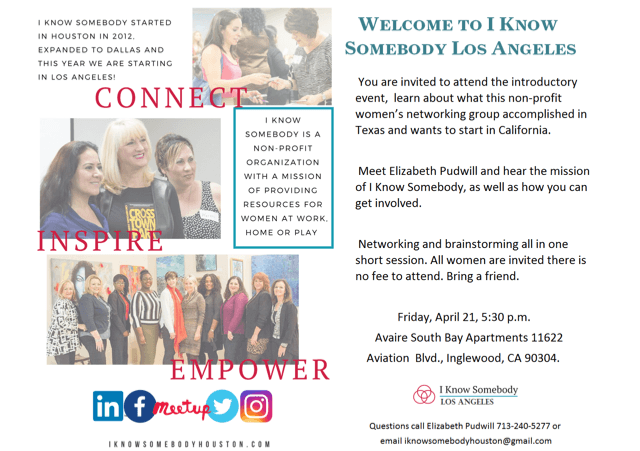Womens Networking Group Los Angeles South Bay IKSLA Flyer 4.21 Event