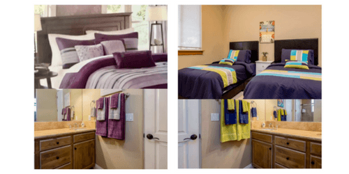 queen and twin bedrooms shared bath womens fitness retreat